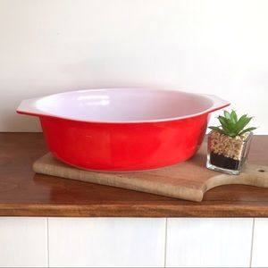 Pyrex Red Friendship 2.5 Quart Casserole - No Lid